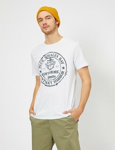 Koton Yazili Baskili T-Shirt Beyaz